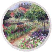 Monet's Garden  Round Beach Towel