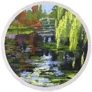Monets Garden Painting Palette Knife Round Beach Towel