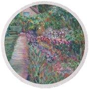 Monet's Gardens Round Beach Towel