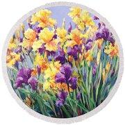 Monet's Iris Garden Round Beach Towel