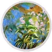 Monet's Irises Round Beach Towel