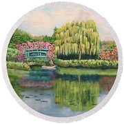Monet's Summer Garden No.2 Round Beach Towel