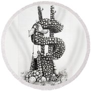 Money Monument Round Beach Towel by James Williamson