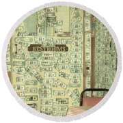 Money Restrooms Round Beach Towel