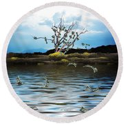 Money Tree On A Windy Day Round Beach Towel