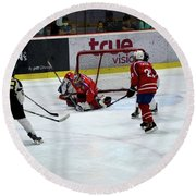 Mongolia Team Players Defend Goal Vs Malaysia In Ice Hockey Match In Rink Bangkok Thailand Round Beach Towel