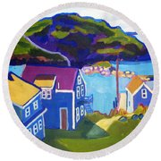 Monhegan Harbor Round Beach Towel