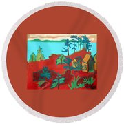 Monhegan Hue Round Beach Towel