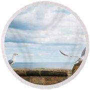 Monitored Seagull Take-off Round Beach Towel