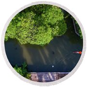 Monk Rowing Boat Along Floating Market Aerial View Round Beach Towel by Pradeep Raja PRINTS