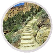 Monkey Face Rock - Smith Rock National Park, Oregon Round Beach Towel