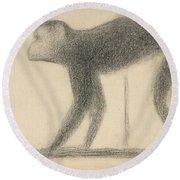 Monkey Round Beach Towel by Georges-Pierre Seurat