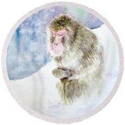 Monkey In Meditation Round Beach Towel