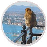 Monkey Overlooking Spain Round Beach Towel