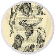 Monkeys Black And White Illustration Round Beach Towel