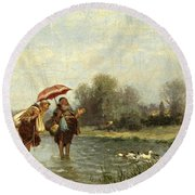 Monks And Ducks Round Beach Towel