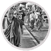 Monks Out And About Round Beach Towel