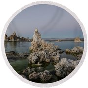 Mono Lake At Dusk Round Beach Towel by Margaret Pitcher