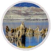 Mono Lake Spires Round Beach Towel
