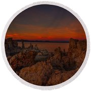 Mono Lake Sunset Round Beach Towel