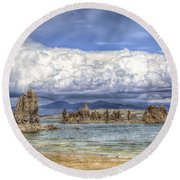 Mono Lake Tufas And Clouds Round Beach Towel
