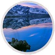 Mono Lake Twilight Round Beach Towel