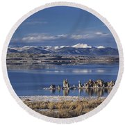 Mono Lk Winter Round Beach Towel