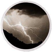 Mono Tone Lightning Striking The Ridge Round Beach Towel