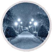 Monochrome Blue Nights Boston Public Garden Snow Storm Ma Massachusetts Bridge Lights Round Beach Towel