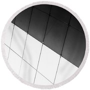 Monochrome Building Abstract 3 Round Beach Towel
