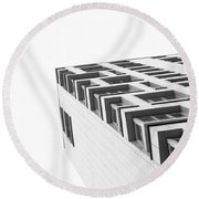 Monochrome Building Abstract 4 Round Beach Towel