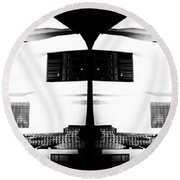 Monochrome Building Symmetry Abstract Round Beach Towel