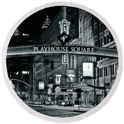 Monochrome Grayscale Palyhouse Square Round Beach Towel