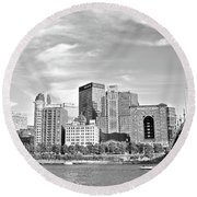 Monochrome Pittsburgh Panorama Round Beach Towel