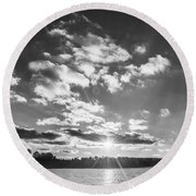 Monochrome Vintage Sunset  Round Beach Towel