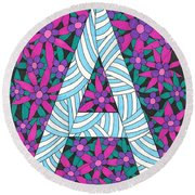 Monogram A Round Beach Towel
