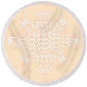 Monogram Qm Ivorypink Round Beach Towel