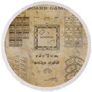 monopoly Board Game 1935 Round Beach Towel