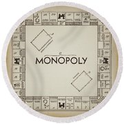 Monopoly Board Patent Vintage Round Beach Towel