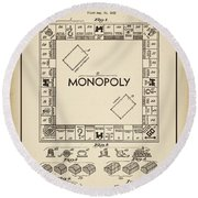Monopoly Patent 1935 Vintage Border Round Beach Towel