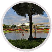 Monorail At Epcot Round Beach Towel