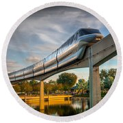 Monorail At Golden Hour Round Beach Towel