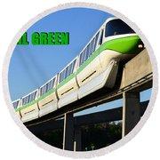 Monorail Green Wdwrf Round Beach Towel