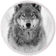 Monotone Timber Wolf  Round Beach Towel