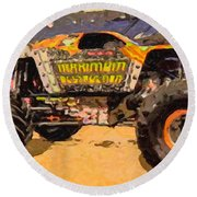 Monster Jam Party In The Pits Round Beach Towel
