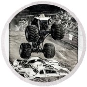 Monster Truck 1b Round Beach Towel