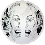 Monsters Then And Now Round Beach Towel