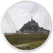 Mont Saint Michel Round Beach Towel