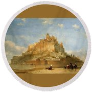 Mont St Michel From The Sands By David Roberts Round Beach Towel