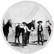 Montana: Cowboys, C1895 Round Beach Towel